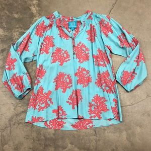 Escapada Blue and Coral Blouse